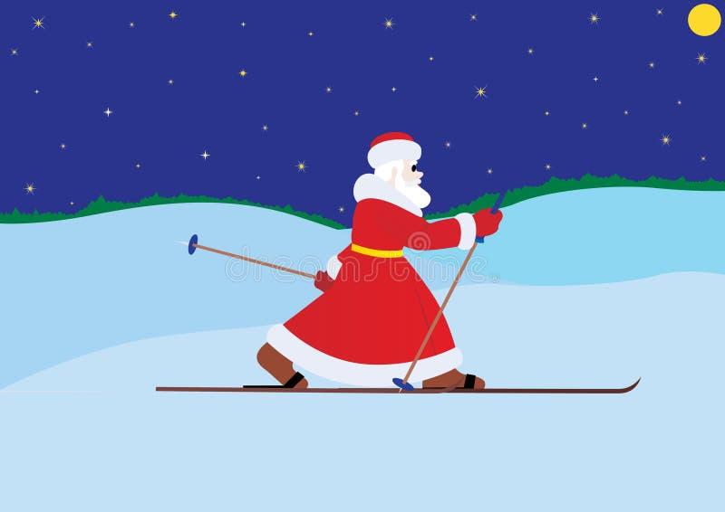 Papai Noel em esquis ilustração royalty free