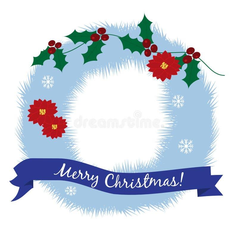 Papai Noel em um sledge Grinalda do Natal em uma cor azul ilustração stock