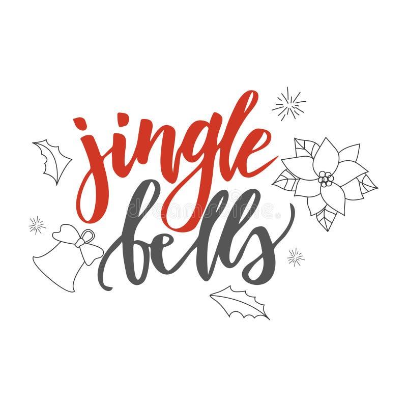 Papai Noel em um sledge Jingle Bells Elementos desenhados mão do projeto Projeto da caligrafia do vetor ilustração stock