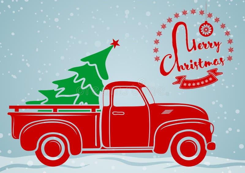 Papai Noel em um sledge Recolhimento do vintage, caminhão com árvore de Natal ilustração royalty free