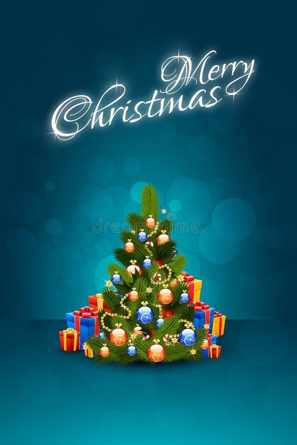 Papai Noel em um sledge Rotulação do Feliz Natal ilustração do vetor