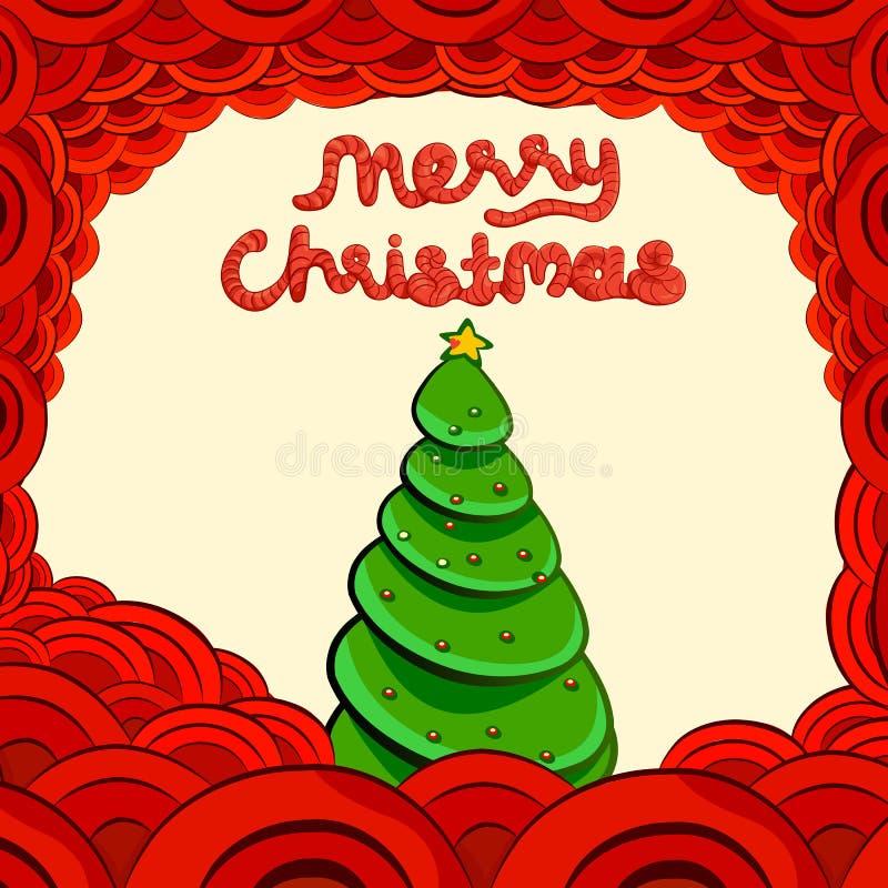 Papai Noel em um sledge Rotulação do Feliz Natal ilustração royalty free