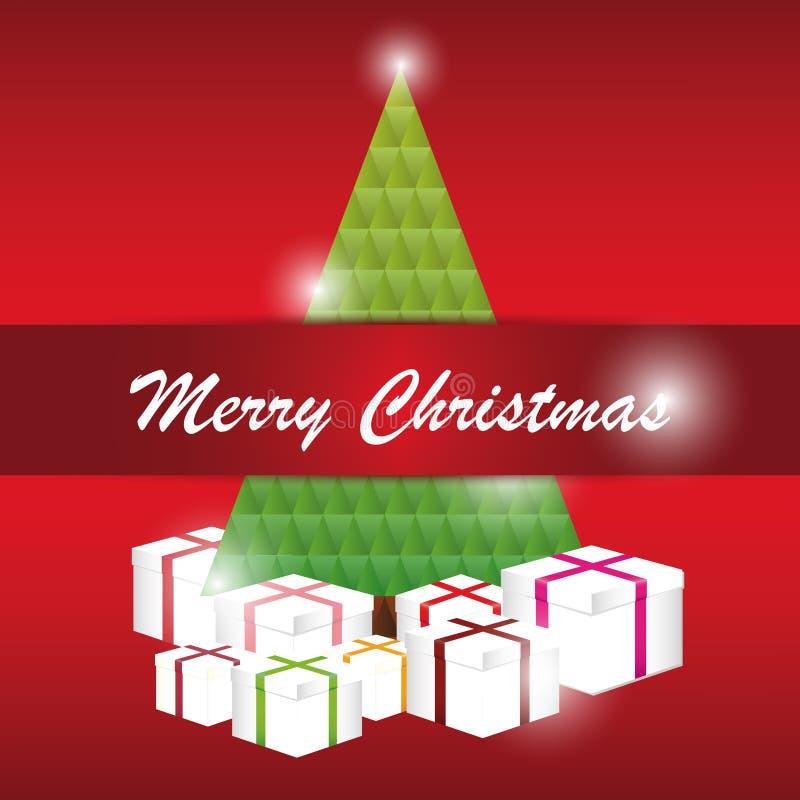 Papai Noel em um sledge Rotulação do Feliz Natal Vetor ilustração royalty free