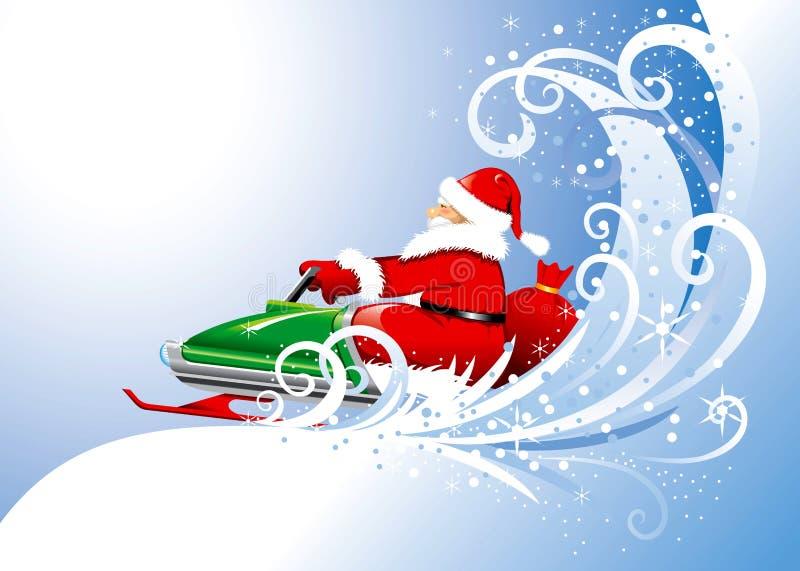 Papai Noel em um snowmobile. Vetor editable. ilustração royalty free