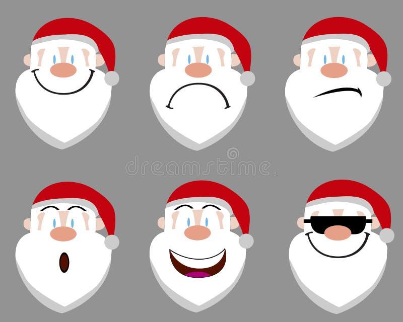 Papai Noel emote ícones ilustração stock
