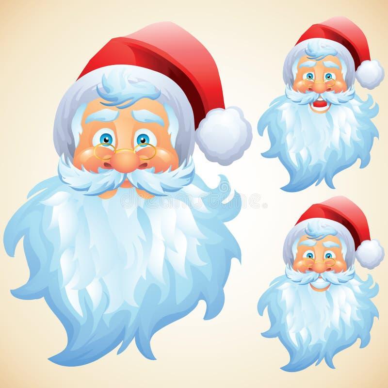 Papai Noel enfrenta expressões ilustração do vetor
