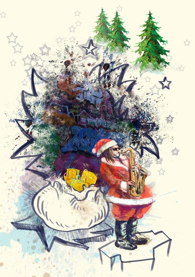 Download Papai Noel Farpado Que Joga O Saxofone Ilustração Stock - Ilustração de ofício, cartão: 26516255