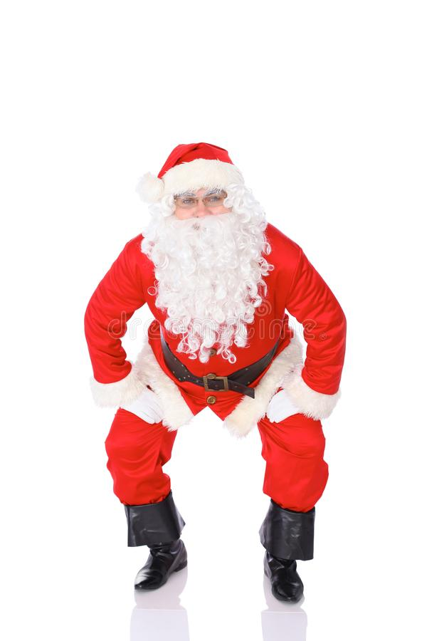 Papai Noel isolou-se no fundo branco Retrato cheio do comprimento fotos de stock royalty free