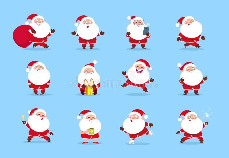 Papai Noel _2 Jogo de caracteres do divertimento do Natal dos desenhos animados para o cartão do feriado de inverno Coleção do ve ilustração stock