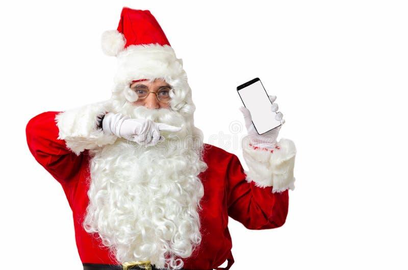 Papai Noel mostrando o smartphone em preto branco com espaço para cópia para texto imagens de stock royalty free