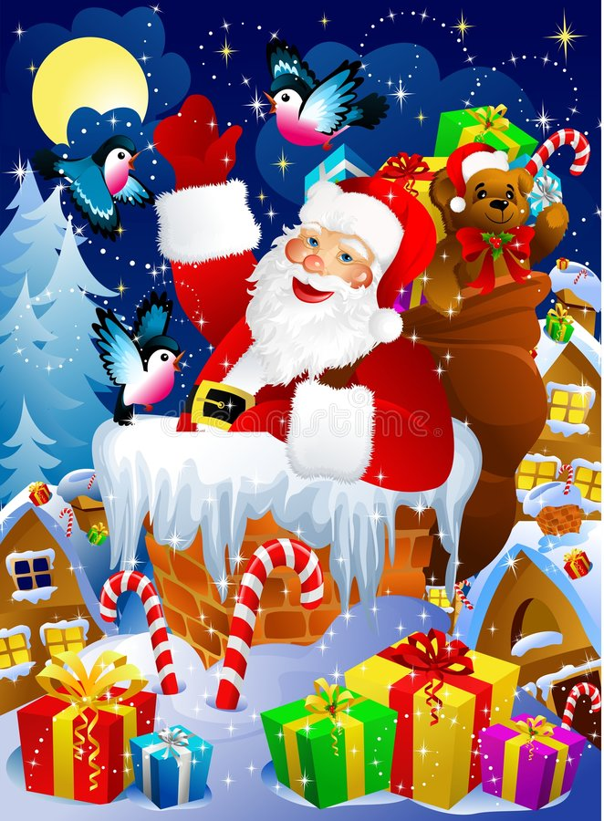 Papai Noel na chaminé ilustração royalty free