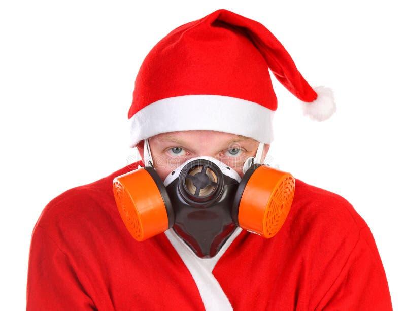 Papai Noel na máscara de gás imagem de stock royalty free