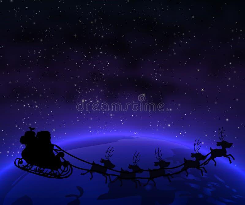 Papai Noel na terra do planeta ilustração do vetor