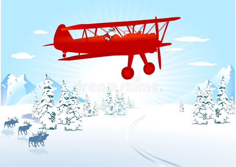 Papai Noel no avião ilustração do vetor
