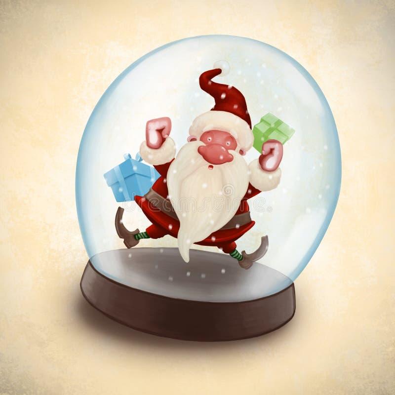 Papai Noel no snowball ilustração do vetor