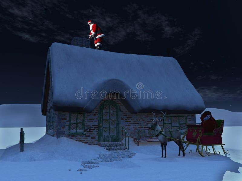Papai Noel no telhado. ilustração stock