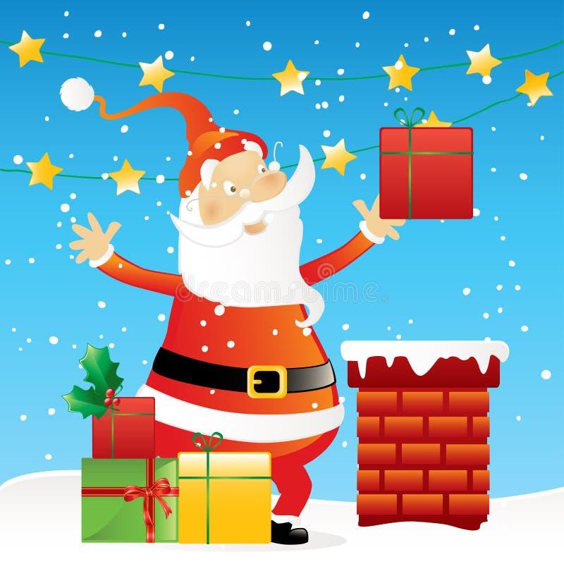 Papai Noel no telhado ilustração royalty free