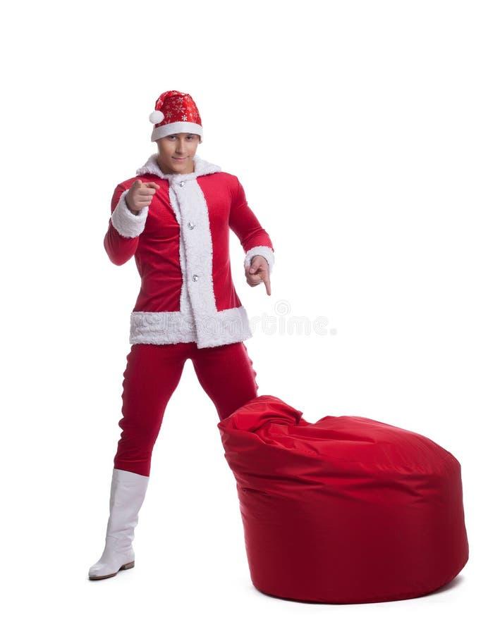 Papai Noel novo com saco fotografia de stock