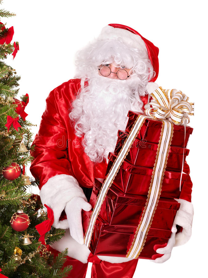 Papai Noel pela árvore de Natal. foto de stock