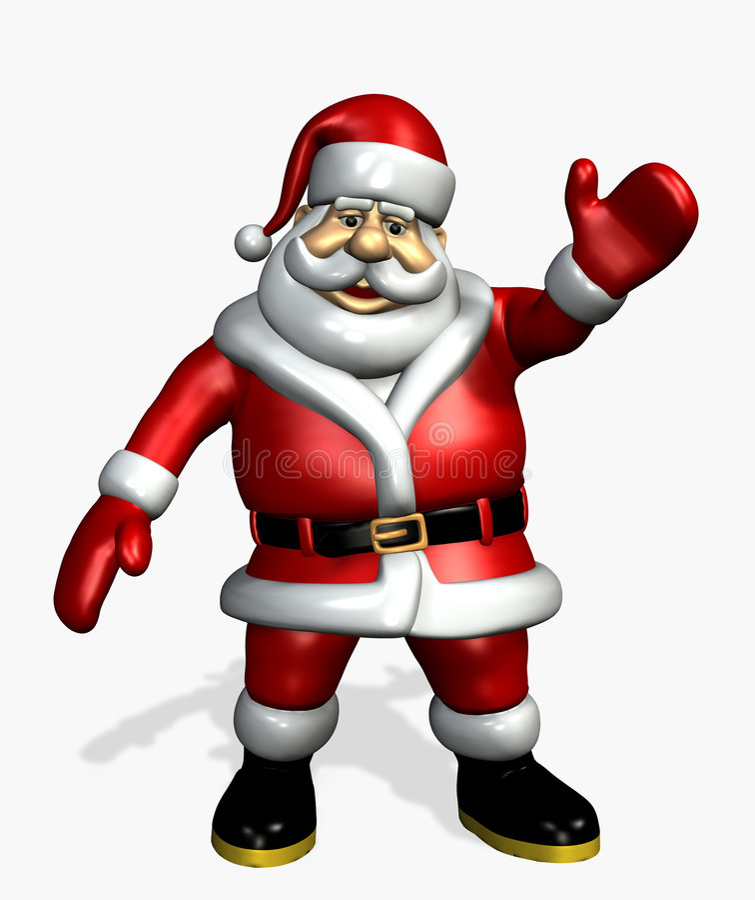 Papai Noel que acena - inclui o trajeto de grampeamento
