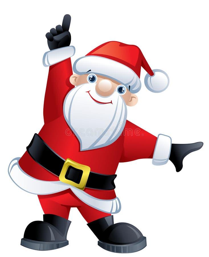 Papai Noel que aponta acima ilustração stock