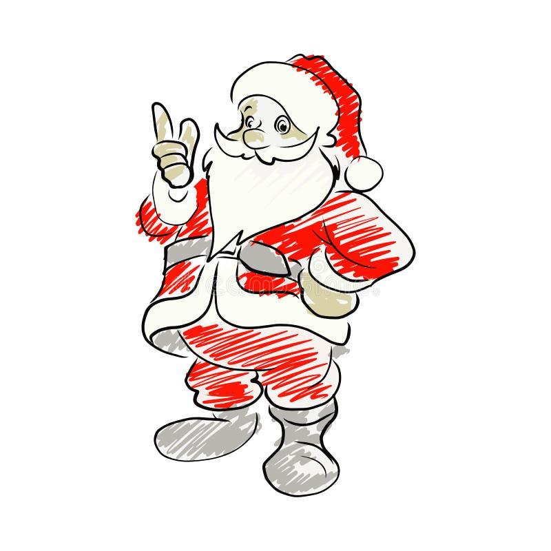 Papai Noel que aponta acima da mão do esboço da ilustração do vetor tirada é ilustração do vetor