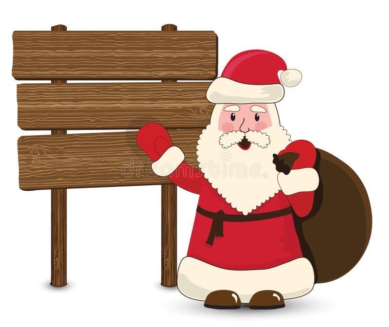 Papai Noel que aponta na madeira ilustração stock