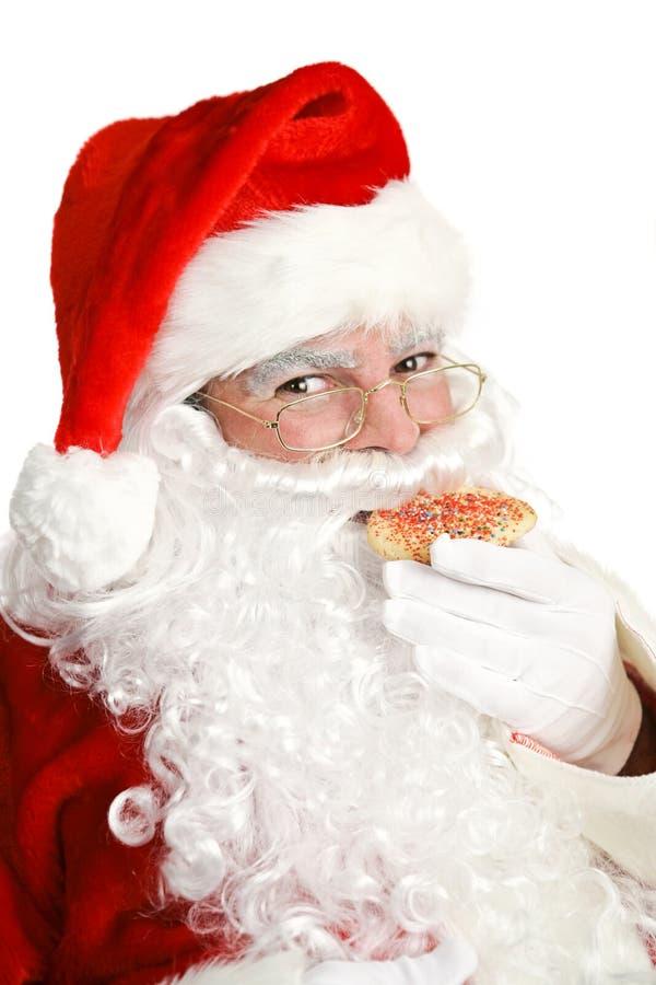 Papai Noel que come o bolinho do Natal fotografia de stock royalty free