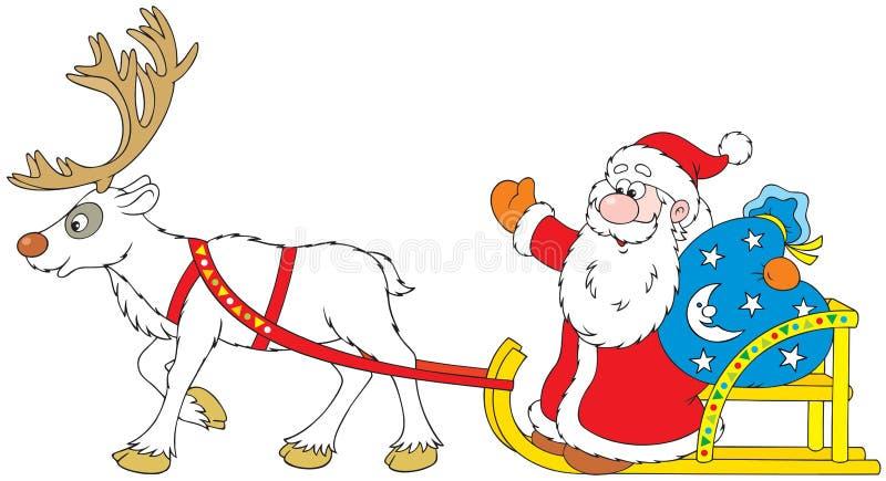 Papai Noel que conduz no trenó com rena ilustração royalty free