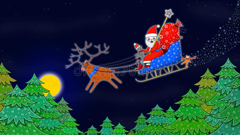Papai Noel que conduz no trenó com rena ilustração do vetor
