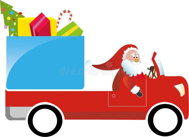Papai Noel que conduz o caminhão do presente ilustração royalty free