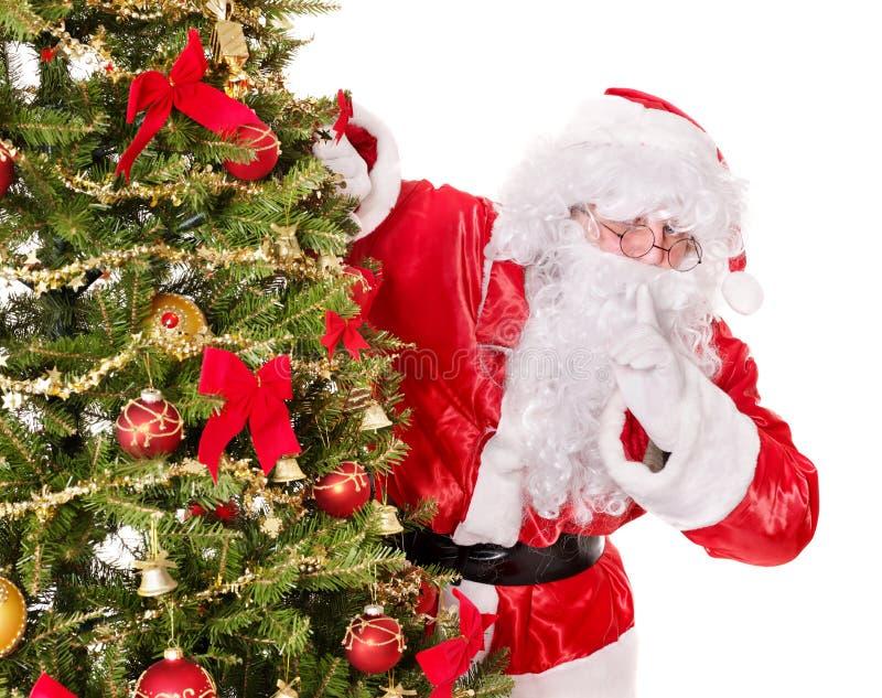 Papai Noel que faz o gesto do silêncio. fotos de stock royalty free