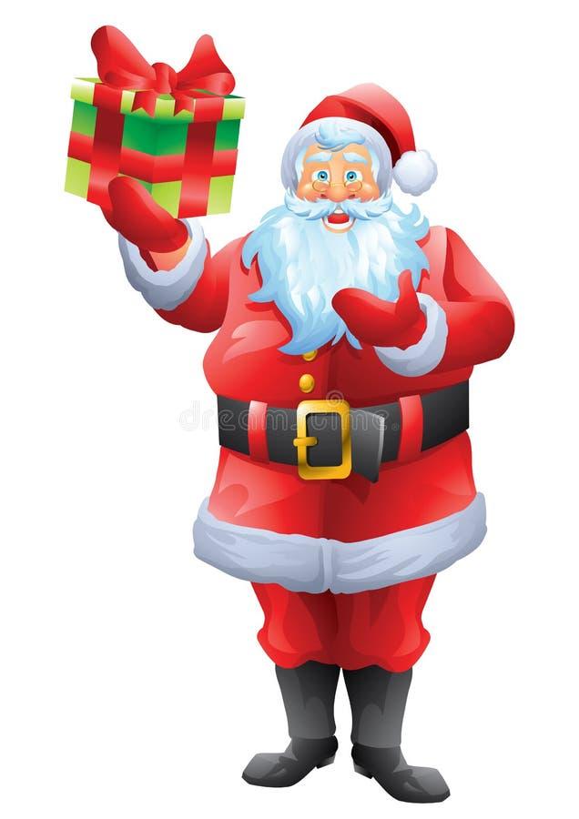 Papai Noel que guarda o presente atual ilustração do vetor