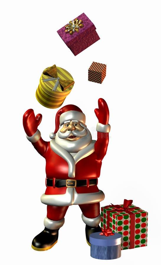 Papai Noel que lanç presentes - com trajeto de grampeamento ilustração royalty free
