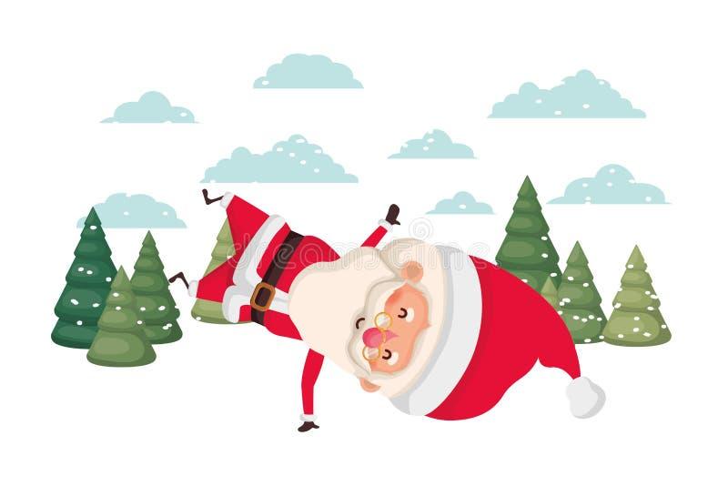 Papai Noel que move-se no caráter do avatar da neve ilustração stock