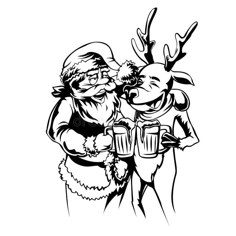 Papai Noel que refrigera com rena ilustração stock