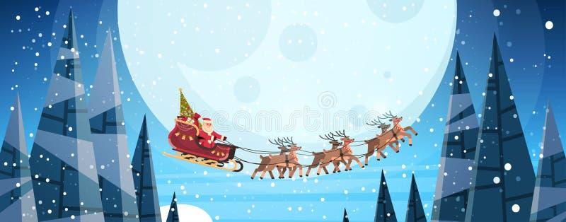 Papai Noel que voa no pequeno trenó com céu noturno das renas sobre o inverno horizontal do ano novo feliz do Feliz Natal da lua ilustração royalty free
