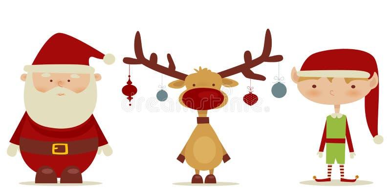 Papai Noel retro, duende, Rudolph ilustração royalty free
