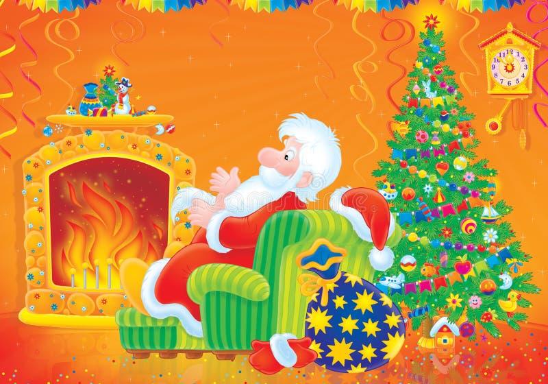Papai Noel senta-se pelo incêndio ilustração do vetor