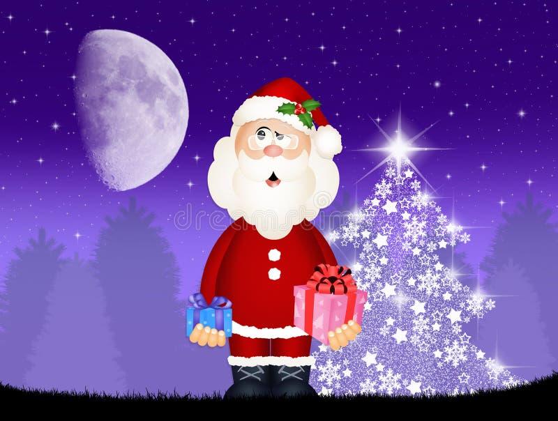 Papai Noel traz presentes ilustração do vetor