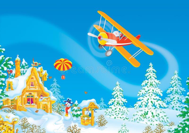 Papai Noel voa em seu avião ilustração do vetor