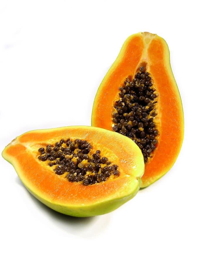 Papaia cortada fotografia de stock royalty free