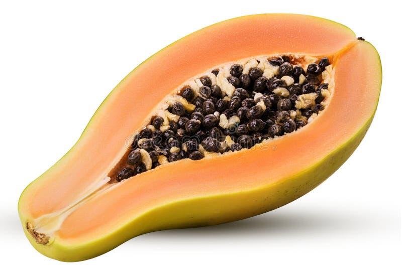 Papaia dolce tagliata a metà fotografia stock