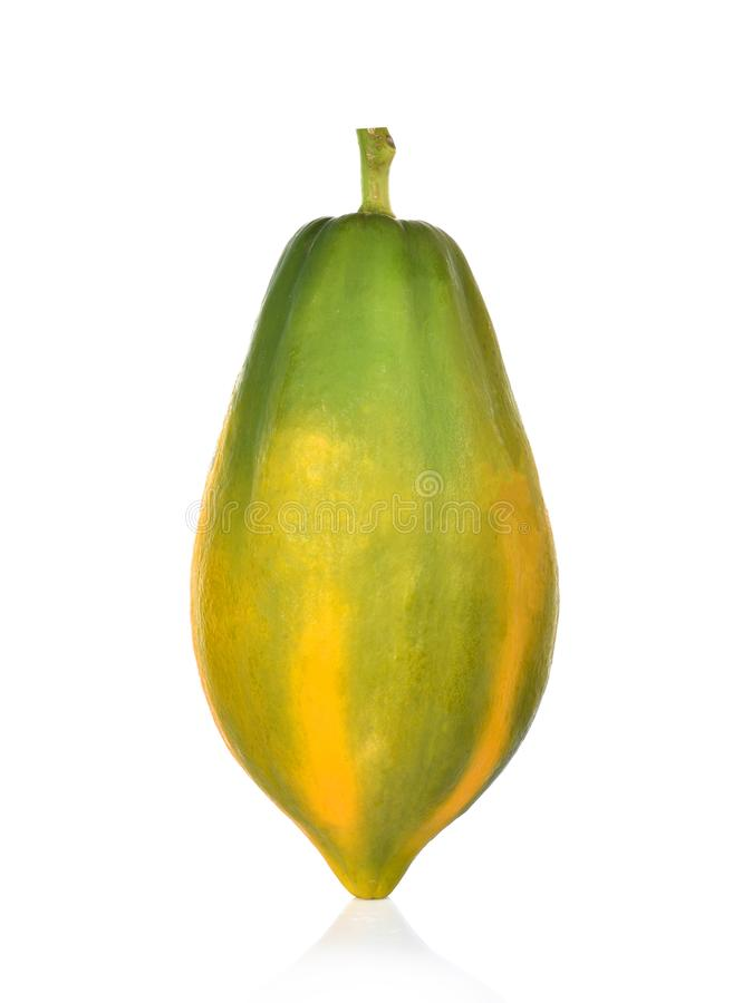 Papaia isolada em um fundo branco imagem de stock