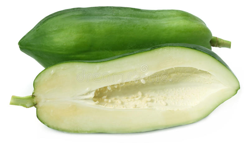 Papaia verde immagini stock