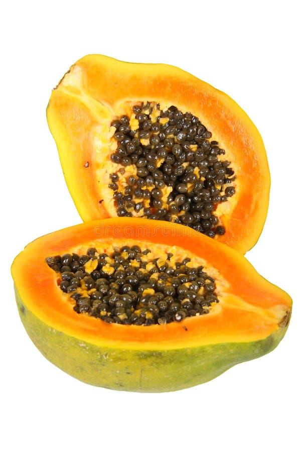 Papaja (Carica papaja) stock afbeeldingen