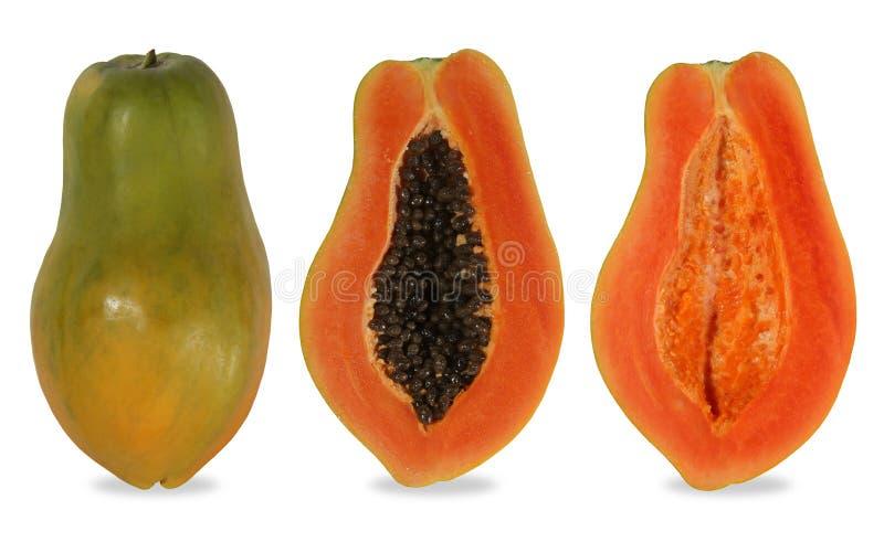 Papaja in de helft van de holte wordt gesneden die royalty-vrije stock afbeelding