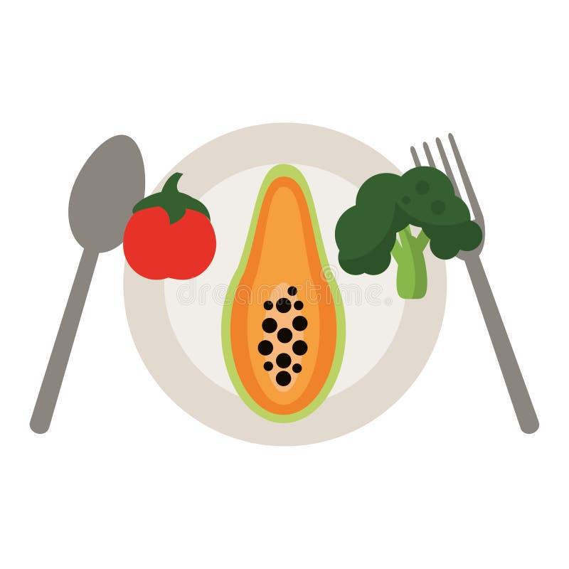 Papaja met groenten stock illustratie