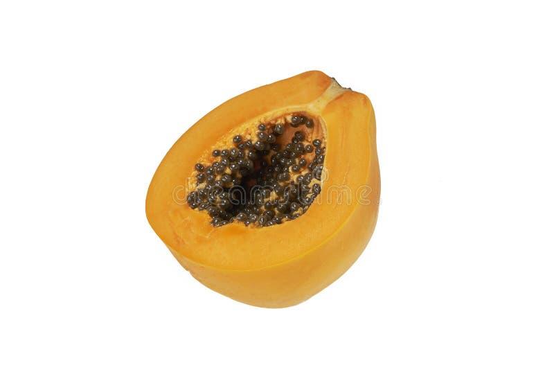 Papajafruit Halve plak zoete rijpe heerlijke die papaja op witte achtergrond wordt geïsoleerd royalty-vrije stock foto's