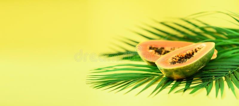 Papajafruit over tropische groene palmbladen op gele achtergrond De ruimte van het exemplaar Pop-artontwerp, creatief de zomercon royalty-vrije stock afbeeldingen